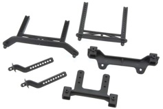 Body mounts, front & rear/ body mount posts, front & rear (adjustable)/ 2.5x18mm screw pins