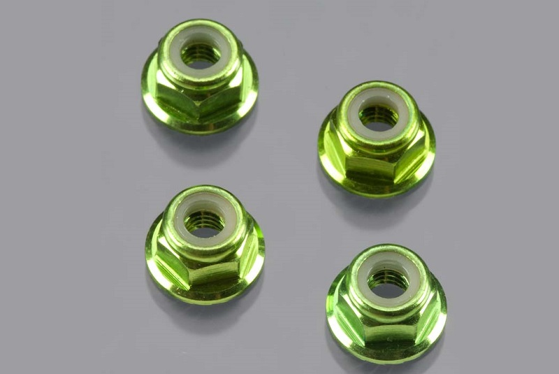 Traxxas 4mm Flanged Nuts Green (4)