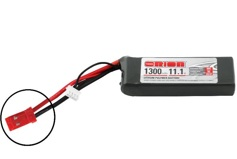 Team Orion Li-Po 11.1V (3S) 1300mah 50C SoftCase Deans plug with LED charge status
