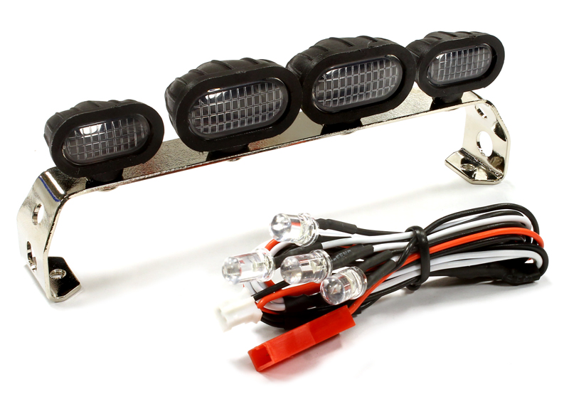 Realistic Roof Top Sport LED (4) Light Set 107mm Wide for 1/10 Scale Off-Road Vehicles