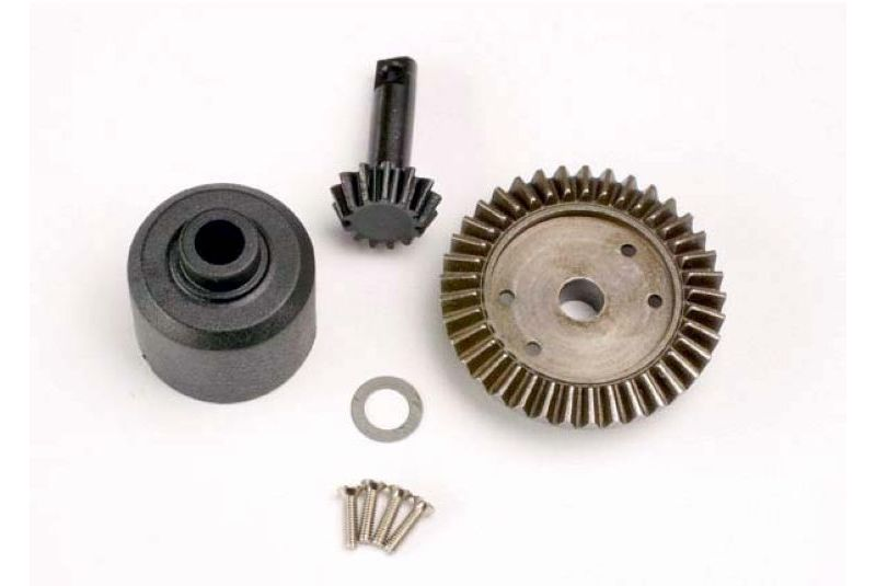 Ring gear, 37-T/ 13-T pinion/ diff carrier/6x10x0.5mm Teflon washer (1)/ 2x8mm countersunk machine s