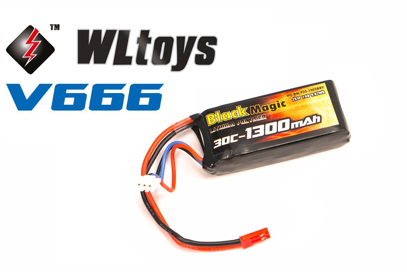 Black Magic	LiPo 7,4�(2S) 1300 mAh 30C Soft Case JST-BEC plug (for WLToys V666)