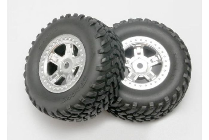 Tires and wheels, assembled, glued (SCT satin chrome wheels, SCT off-road racing tires, foam inserts