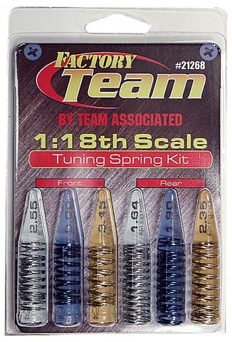 1:18 Scale Tuning Spring Kit. 1 pair each of front and rear springs: Silver, Blue, Gold.