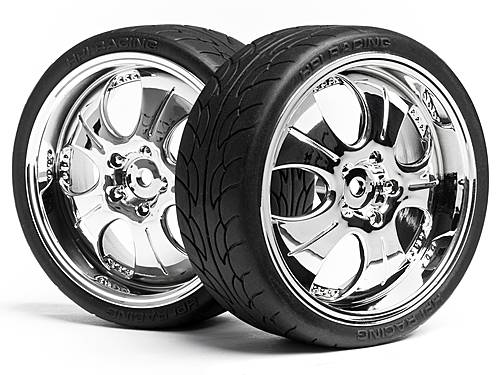 ������ � ����� 1/10 MOUNTED SUPER LOW TREAD TIRE (CHROME/4pcs)