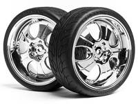 Колеса в сборе 1/10 MOUNTED SUPER LOW TREAD TIRE (CHROME/4pcs)