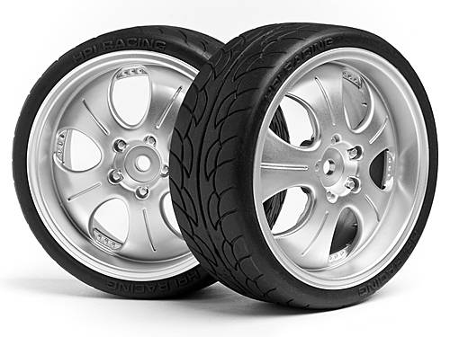 Колеса в сборе 1/10 MOUNTED SUPER LOW TREAD TIRE (MATTE CHROME/4pcs)