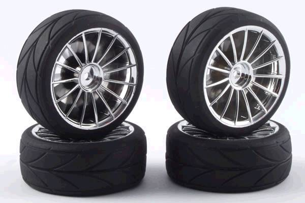 Колеса 1/10 - 15Spoke Touring Car Wheel & Tyre Set (4шт) - Chrome