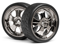 ������ ��������� � ����� 1:10, MOUNTED SUPER LOW TREAD TIRE BLACK CHROME, 4 ��.