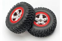 "Tires & wheels, assembled, glued (SCT satin chrome wheels, red beadlock (dual profile 2.2"" oute"