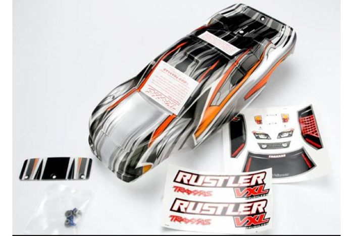 Body, Rustler VXL, ProGraphix (replacement for the painted body. Graphics are printed, requires pain
