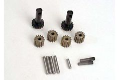 Planet gears (4)/ planet shafts (4)/ sun gears (2)/sun gear alignment shaft (1) all hardened steel
