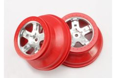 "Wheels, SCT satin chrome, red beadlock style, dual profile (2.2"" outer, 3.0"" inner) (rear) ("