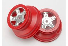 "Wheels, SCT satin chrome, red beadlock style, dual profile (1.8"" outer, 1.4"" inner) (2)"