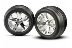 "Tires & wheels, assembled, glued (2.8"")(All-Star chrome wheels, Ribbed tires, foam inserts) (ele"
