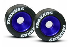 Wheels, aluminum (blue-anodized) (2)/ 5x8mm ball bearings (4)/ axles (2)/ rubber tires (2)