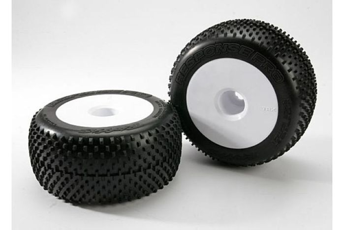 "Tires & wheels, assembled, glued (white dished 3.8"" wheels, Response Pro tires, foam inserts) (2"