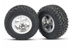 "Tires & wheels, assembled, glued (SCTsatin chrome wheels, (dual profile 2.2"" outer 3.0"" inne"