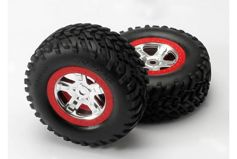 "Tires & wheels, assembled, glued (SCT, satin chrome wheels, red beadlock (dual profile 2.2"" oute"