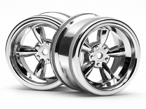 Диски 1/10 - VINTAGE 5 SPOKE 31MM SHINY CHROME (6MM OFFSET) 2шт