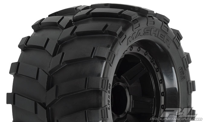 "Колеса трак 1/8 - Masher 3.8"" (Traxxas Style Bead) All Terrain (Desperado Black 1/2"" Offset 17mm) 2шт"