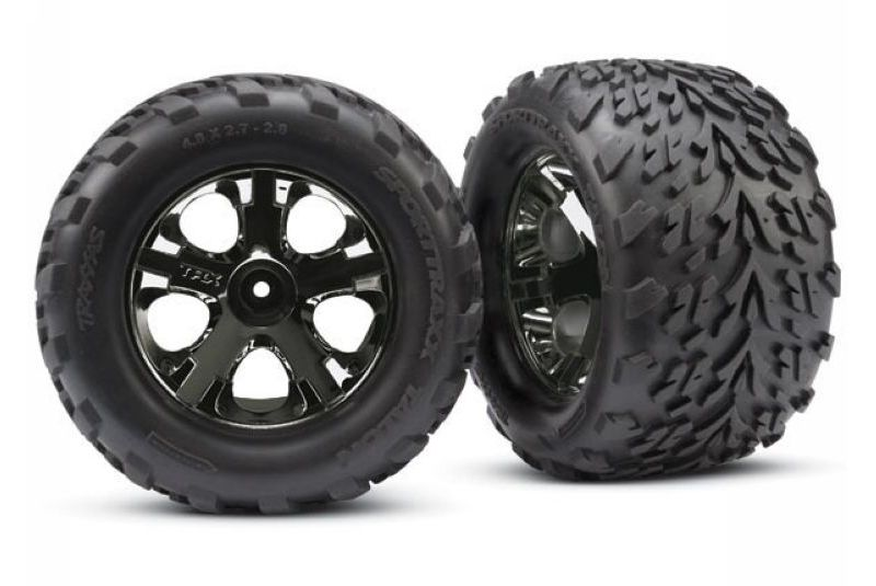 "Tires & wheels, assembled, glued (2.8"") (All-Star black chrome wheels, Talon tires, foam inserts"